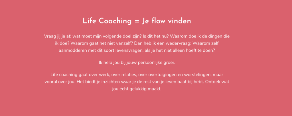 Screenshot van website Evelien Hofstee